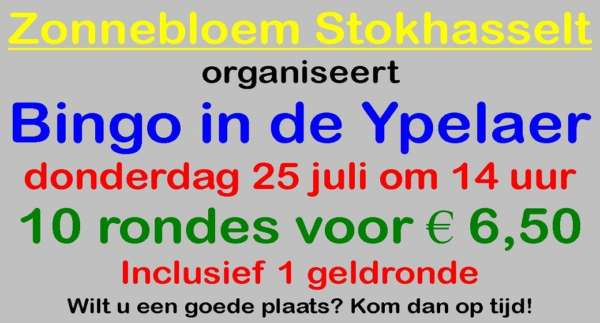 Bingo Zonnebloem in De Ypelaer